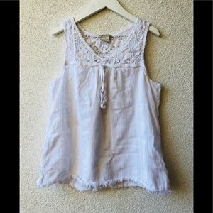 🍓 Lucky Brand white embroidered tank top S cotton